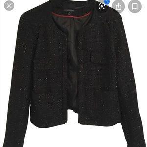 Cynthia Rowley black tweed sparkly blazer jacket